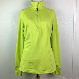 Zella Lime Green Half Zip Track Jacket Thumbholes